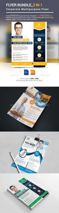 Buy Flyer Bundle by ExpoMedia on GraphicRiver. Flyer Bundle Flyer Bundle A creative, modern and Corporate Multipurpose Flyer Bundle. Easy to change colours, text, p. Psd Flyer Templates, Business Flyer Templates, Marketing Flyers, Creative Flyers, Corporate Branding, Color Themes, Print Design, Graphic Design, Color Change