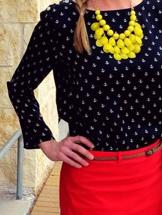 Nautical style - Anchor top with pops of red and yellow
