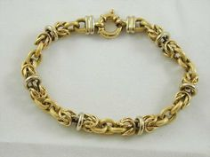 18CT GOLD BRACELET VINTAGE  FANCY LINK  8.5  LONG 15.5 GRAMS