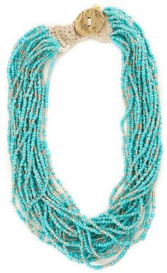 Lucky Brand Turquoise Seed Bead Necklace in Blue (turquoise) - Lyst