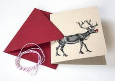 Shop for on Etsy, the place to express your creativity through the buying and selling of handmade and vintage goods. Holiday Greeting Cards, Reindeer, My Etsy Shop, Creative, Christmas Ideas, Handmade, Behance, Products, Behavior