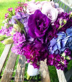 Purple Passion Bridal Bouquet Designed using Hydrangea, Lizianthus, Roses, Wax, Stock  https://www.facebook.com/PristineFloralDesign  http://pristinefloral.com/