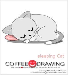 How to Drawing Cartoon sleeping cat