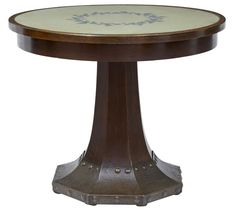 OnlineGalleries.com - 19TH CENTURY OAK AND COPPER AESTHETIC MOVEMENT CENTER TABLE