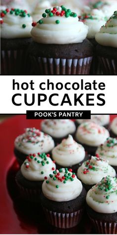 Bittersweet chocolate cupcakes topped with a peppermint swiss meringue buttercream are perfect for the holiday season. #hotchocolatecupcakes #pepperminthotchocolate #peppermintbuttercream #chocolatecupecakes