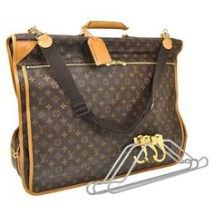 Louis Vuitton Garment Cover With +lv Adjustible Shoulder Strap +lv Luggage  Tag +lv Lock 1 Matching Key + Lv Monogram Canvas and Leather Weekend Travel  Bag ... d08dbfda2c
