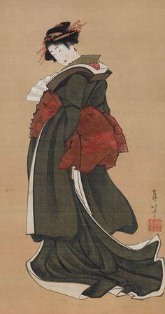 Woman Holding a Fan. Painting. Early 1800's, Japan, by artist Katsushika Hokusai.