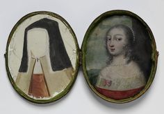 Unusual amusement in fashion after Oil miniature on copper, leather case. Came with costume changes painted on transparent mica. Costume of portrait could be varied depending on how mica was layered. John Smith, Antique Locket, Antique Jewelry, Miniature Portraits, Miniature Paintings, 17th Century Fashion, Art Nouveau, Vintage Magazine, Lovers Eyes