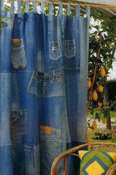 Upcycled jeans porch curtain panel