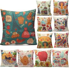 Various Type Cotton Linen Pillow Covers Home Office Car Cushion