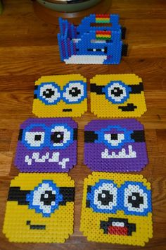 Minions Coaster set with a Fart Gun holder made from hama beads. My 4yr old filled in all the middle bits while I did the outlines.