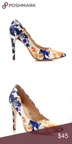 "Vince Camuto Kain Pump NWOT VINCE CAMUTO splashes classic pointed-toe pumps with a gracefully bold floral print that guarantees a noteworthy arrival. Pointed toe; slip on. Multicolor floral print detailing.  4"" heel. Fabric upper, synthetic lining, leather sole. BRAND NEW. NEVER WORN. Vince Camuto Shoes Heels"