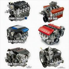 Just missing her husband. a quad turbo Too brutal to fit on this pic 😂 Funny Truck Quotes, Funny Car Memes, Car Humor, Funny Shit, Motor Ford, Ford Mustang, Truck Engine, Ls Engine Swap, V10 Engine
