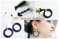 Wardrobe Recycle: DIY Sequin Earings - make as a necklace or bracelet? Diy Necklace Bracelet, Diy Earrings, Crochet Earrings, Bracelets, Necklaces, Diy Buttons, Jewelry Making, Diy Jewellery, Jewlery