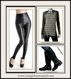 COWGIRLS ROCK LEGGINGS Stretchy Leather Look High Waisted Leggings Designer Sweater and Riding Boots  #leggings #leather #vegan #highwaisted #pinup #biker #rocker #cowgirl #sweater #zipper #Striped #ridingboots #boots #buckle #fashion #style #boutique #shopping #clothing