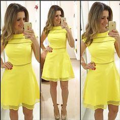 Aliexpress.com: Compre 2015 nova moda casual vestido mulheres vestidos de verão vestidos o pescoço amarelo mini vestido de confiança ternos de vestido e casaco fornecedores em High-end Fashion Women Clothing