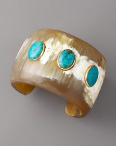 Ashley Pittman turquoise and horn cuff