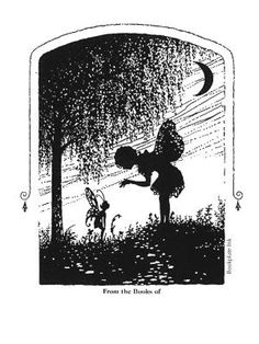 This delightful fairy design, F101, was adapted from a 1930s design by the Antioch Bookplate Company.