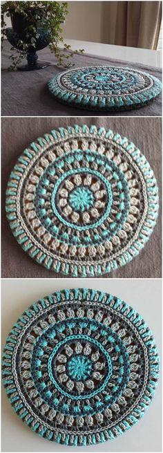 Crochet Mandala Trivet Cover - Free Crochet Mandala Patterns - Page 3 of 12 . - Crochet Mandala Trivet Cover - Free Crochet Mandala Patterns - Page 3 of 12 . Bag Crochet, Crochet Diy, Crochet Amigurumi, Love Crochet, Crochet Gifts, Crochet Braids, Crochet Ideas, Crochet Rugs, Afghan Crochet