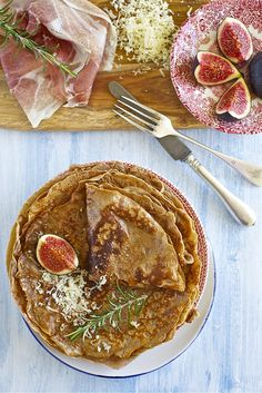 The perfect autumn or winter brunch dish: Chestnut Crepes with Figs, Prosciutto, and Cheese. #crepes #chestnuts #figs #breakfast #food #brunch #Italian