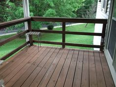 gorgeous wooden balcony idea with wooden flooring idea and horizontal wooden railing design aside greenery with lush vegeattion