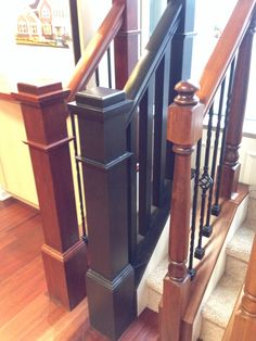 Middle Stair Railing Box/newel Posts In Sarsaparilla Stain
