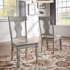 Eleanor Grey Two-Tone Square Turned Leg Wood Dining Chairs (Set of 2) by TRIBECCA HOME - Free Shipping Today - Overstock.com - 20660047 - Mobile