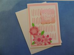 Mother's Day Card - Pink Stitched Flowers - Free Shipping by LagniappeEmporium on Etsy