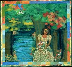 Faith Ringgold. Listen to the Trees  1997  Acrylic on canvas; painted and pieced border  76 x80""