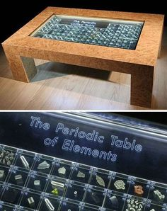 "The Periodic Coffee Table of the Elements actually contains the real elements sealed into clear acrylic blocks!  There is built-in lighting illuminating the blocks.  The more reactive elements are sealed in mineral oil or inert Argon gas.  Quite a few of the blocks are labeled with the ""radioactive"" symbol!  Price tag-8,550 one dollar bills!"