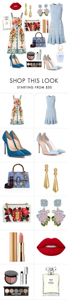 """""""Brandy"""" by ssakshis on Polyvore featuring Dolce&Gabbana, Gianvito Rossi, Gucci, Oscar de la Renta, Axiology, Lime Crime, Bobbi Brown Cosmetics, Marc Jacobs and Chanel"""