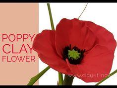 Easy Clay Poppy Flower Tutorial - YouTube