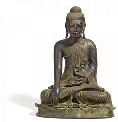 BUDDHA. - Myanmar/Burma. 19. Jh. Mandalay-Stil. - - Bronze mit dunkler Patina. [...]