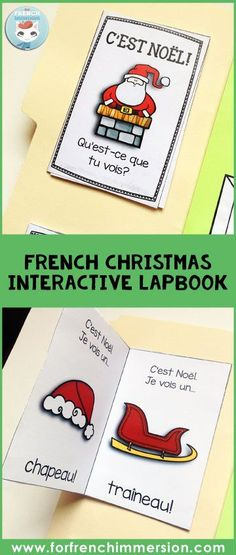 French Christmas Lapbook: fun, interactive foldable activities for lapbooks and notebooks. Great holiday activity for your French classroom! Teaching French Immersion, French Kids, French Education, Core French, French Christmas, French Classroom, French Teacher, Ways Of Learning, French Lessons