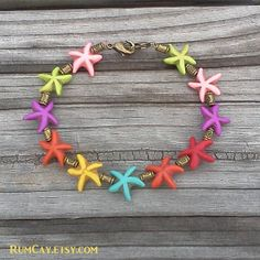 Starfish Bracelet - multi-color howlite   - island, beach, surfer girl