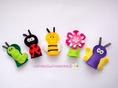 Felt Finger Puppets    Set of 5  butterfly  by LadybugOnChamomile