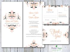 Printable Wedding Invitation with RSVP & Thank You Card, Elegant Floral Invitation Suite