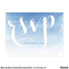 Blue modern watercolor nautical beach wedding rsvp postcard Romantic ocean blue watercolor wash background, modern, chic, simple and elegant wedding rsvp postcard, perfect for beach wedding, nautical theme wedding, destination wedding and summer wedding. See all the matching pieces in collection below. Fun wedding invites. Customize invitations for your weddings. #invitations #invites #weddings