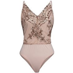 Nude Pink Sequined V-neck Open Back Cami Bodysuit ($50) ❤ liked on Polyvore featuring intimates and shapewear