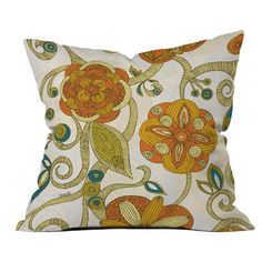 Pillow with a patterned floral motif by artist Valentina Ramos for DENY Designs. Made in the USA.  Product: PillowConstruc...
