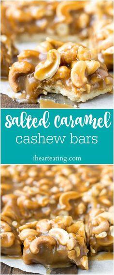 Salted Caramel Cashew Bar Recipe - the ORIGINAL salted caramel cashew bar recipe! Shortbread crust topped with cashews and salted caramel. | http://ihearteating.com | #dessert