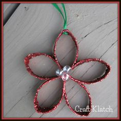 Easy Christmas Flower Ornament | Recycling Craft