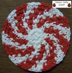 Christmas Peppermint Swirl Coasters via Craftsy