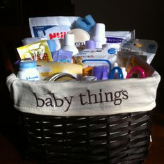 Baby Shower Gift.  Use products that a new mom would use daily. Include items like gas relief drops and infant Tylenol.