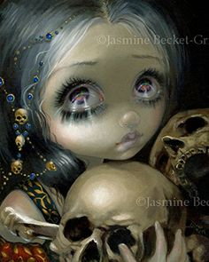 """""""Ossuary: the Collector"""" SIGNED Glossy Photo Art Print by Jasmine Becket-Griffith. The first painting in a series called """"Ossuary"""" - I debuted & sold this piece for the Dragon*Con 2014 Art Show. Each painting in my Ossuary focuses on the beauty of bones. Traditionally, an ossuary is a storage place specifically for bones, and they make a definite appearance in """"The Collector"""" - a tragically sad looking big eyed girl gathering together some ancient skulls. There is no doubt a story behind..."""