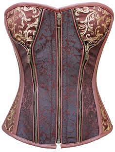 The brocade on this is so rich, and the zippers! Perfect! The Violet Vixen - Studette Revealed Brocade Chocolate Brown-Gold Corset, $111.00 (http://thevioletvixen.com/corsets/studette-revealed-brocade-chocolate-brown-gold-corset/) steel boned waist trainer steampunk gold brown brocade  zipper corset plus size