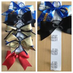 Cheer bow holder! Clear clips glued to a strip of ribbon and you clip the scrungy to hang the bow :)