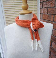 Fox Collar, Mini Fox Stole, Fox Neckwarmer, Handknitted Fox Collar, Fox Scarf £15.50