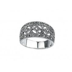 Silver Marcasite Wide Dress Ring