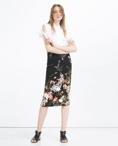Image 1 of FLORAL PENCIL SKIRT from Zara